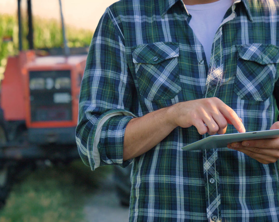 Farmer On Tablet
